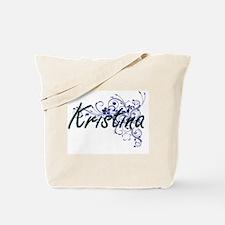 Kristina Artistic Name Design with Flower Tote Bag