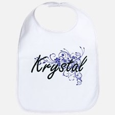 Krystal Artistic Name Design with Flowers Bib