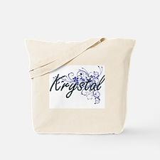 Krystal Artistic Name Design with Flowers Tote Bag