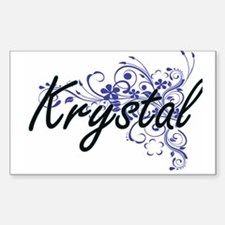 Krystal Artistic Name Design with Flowers Decal
