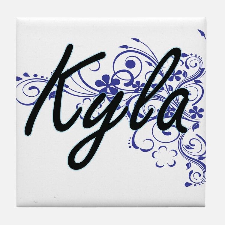 Kyla Artistic Name Design with Flower Tile Coaster