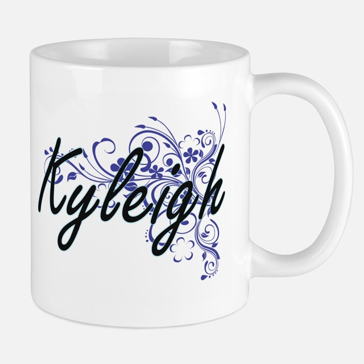 Kyleigh Artistic Name Design with Flowers Mugs