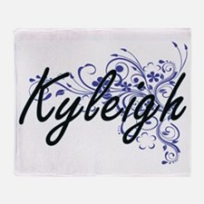 Kyleigh Artistic Name Design with Fl Throw Blanket