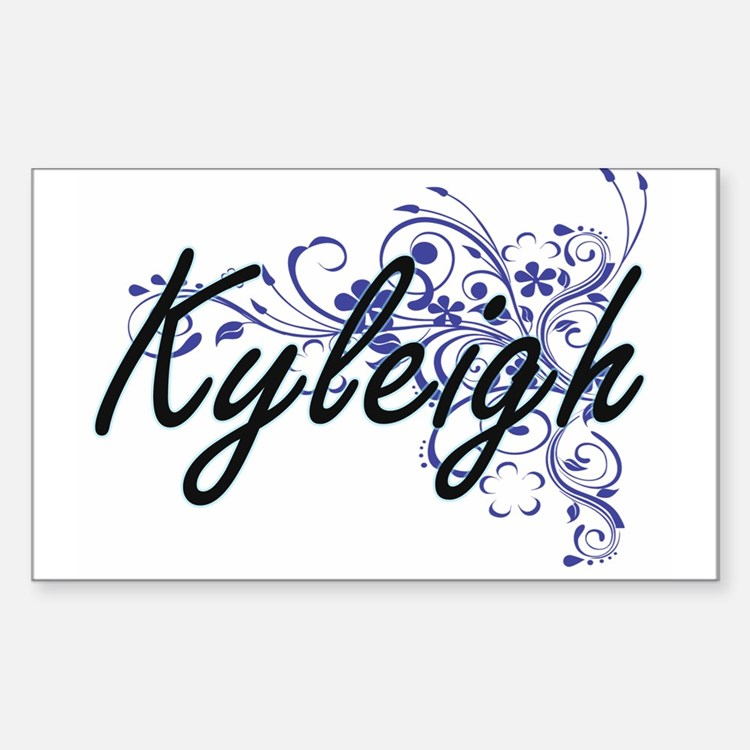 Kyleigh Artistic Name Design with Flowers Decal