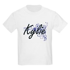 Kylie Artistic Name Design with Flowers T-Shirt