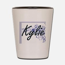 Kylie Artistic Name Design with Flowers Shot Glass