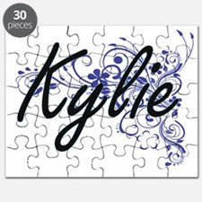 Kylie Artistic Name Design with Flowers Puzzle