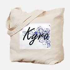 Kyra Artistic Name Design with Flowers Tote Bag