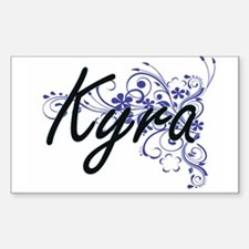 Kyra Artistic Name Design with Flowers Decal