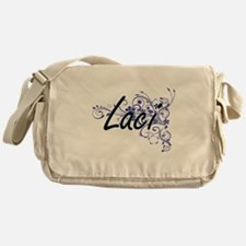 Laci Artistic Name Design with Flowe Messenger Bag