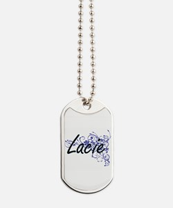 Lacie Artistic Name Design with Flowers Dog Tags