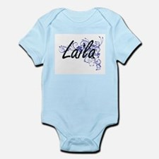 Laila Artistic Name Design with Flowers Body Suit