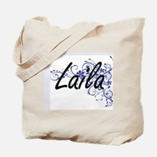 Laila Artistic Name Design with Flowers Tote Bag