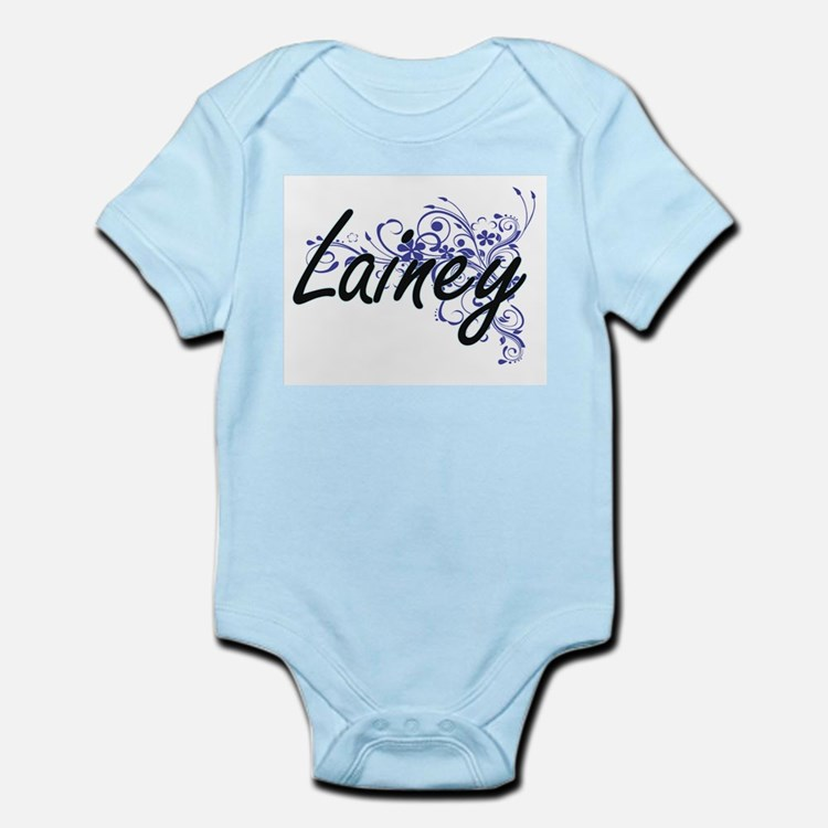 Lainey Artistic Name Design with Flowers Body Suit