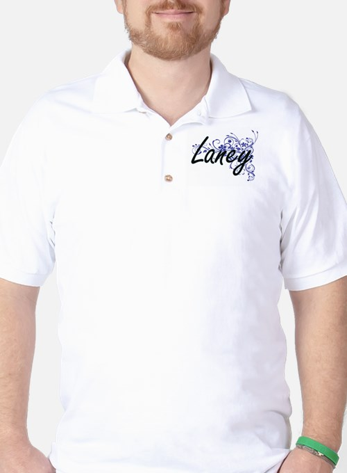 Laney Artistic Name Design with Flowers Golf Shirt