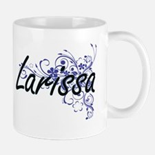 Larissa Artistic Name Design with Flowers Mugs