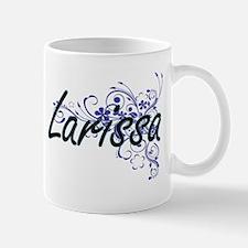 Larissa Artistic Name Design with Flowers Mugs