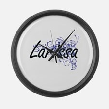 Larissa Artistic Name Design with Large Wall Clock