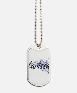 Larissa Artistic Name Design with Flowers Dog Tags