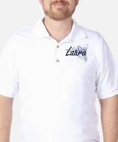 Laura Artistic Name Design with Flowers T-Shirt