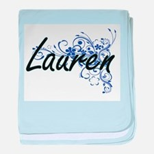 Lauren Artistic Name Design with Flow baby blanket