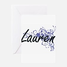Lauren Artistic Name Design with Fl Greeting Cards