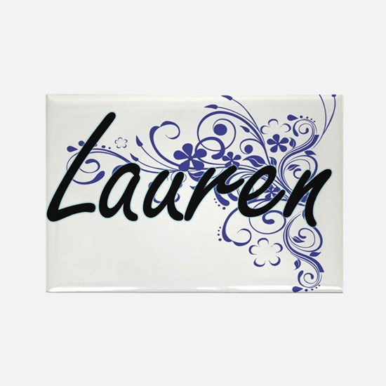 Lauren Artistic Name Design with Flowers Magnets