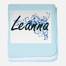 Leanna Artistic Name Design with Flow baby blanket