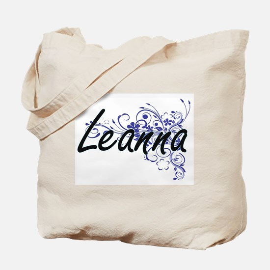 Leanna Artistic Name Design with Flowers Tote Bag
