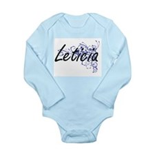 Leticia Artistic Name Design with Flower Body Suit