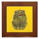 Vintage Toy Frog Art Framed Tile