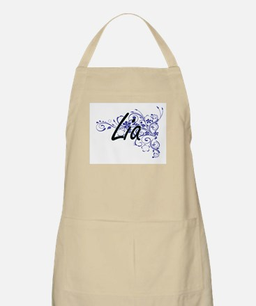 Lia Artistic Name Design with Flowers Apron