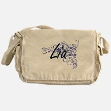 Lia Artistic Name Design with Flower Messenger Bag