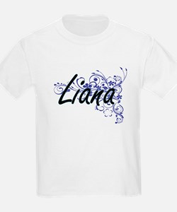 Liana Artistic Name Design with Flowers T-Shirt