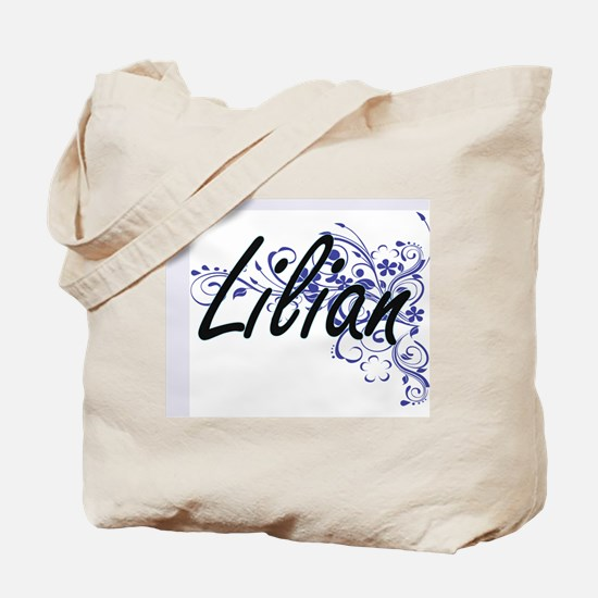 Lilian Artistic Name Design with Flowers Tote Bag