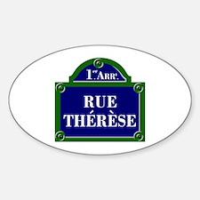Rue Thérèse, Paris - France Oval Decal