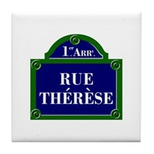 Rue Thérèse, Paris - France Tile Coaster