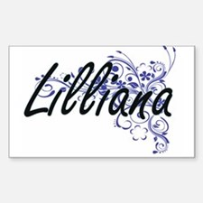 Lilliana Artistic Name Design with Flowers Decal