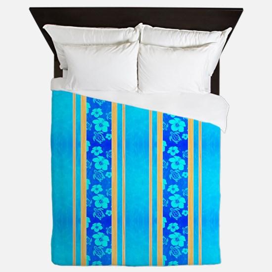 Hawaiian Honu Surf Stripes Queen Duvet