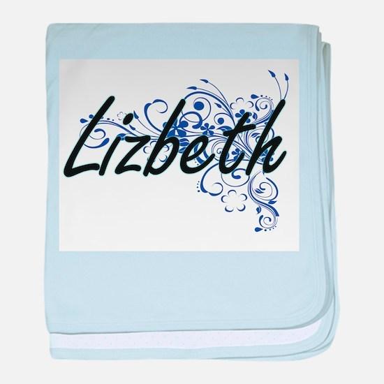 Lizbeth Artistic Name Design with Flo baby blanket