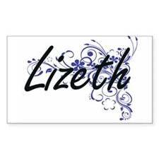 Lizeth Artistic Name Design with Flowers Decal