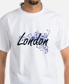 London Artistic Name Design with Flowers T-Shirt