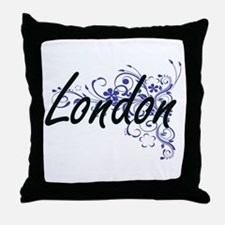 London Artistic Name Design with Flow Throw Pillow