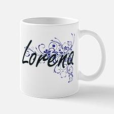 Lorena Artistic Name Design with Flowers Mugs