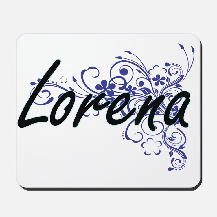 Lorena Artistic Name Design with Flowers Mousepad