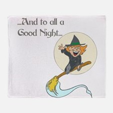 Funny Witch%27s broom moon Throw Blanket