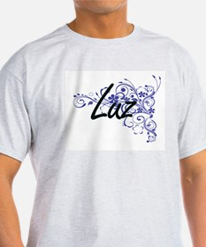 Luz Artistic Name Design with Flowers T-Shirt