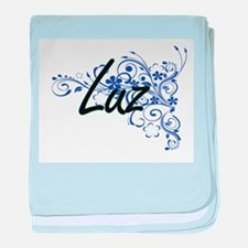 Luz Artistic Name Design with Flowers baby blanket