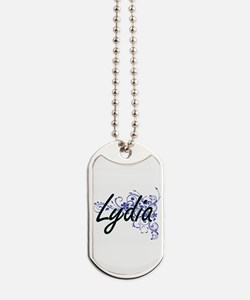 Lydia Artistic Name Design with Flowers Dog Tags
