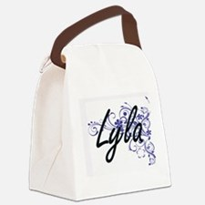 Lyla Artistic Name Design with Fl Canvas Lunch Bag